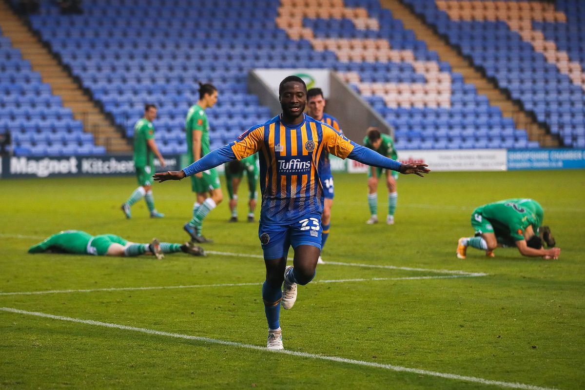 Daniel Udoh of Shrewsbury Town celebrates after scoring a goal to make it 1-0. (AMA)
