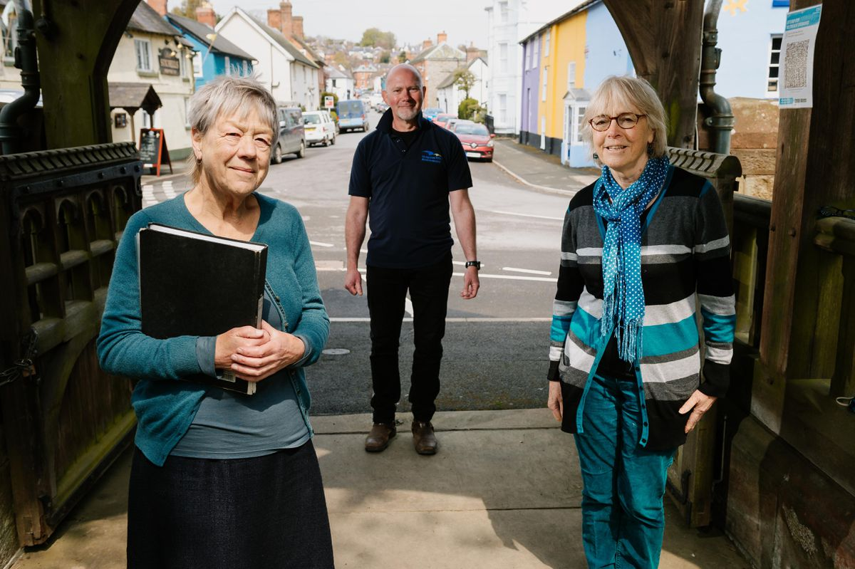 Janny Phillips, Nigel McDonald (Shropshire Hills AONB Partnership) and Geraldine Burkill ready to take people on a town tour
