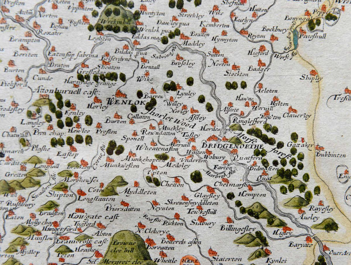 This section of the map shows the area between Bridgnorth and the Wrekin. The spelling of the place names are different from what we use today and of course there is no Ironbridge. Wenlock is marked as the main town in this area of the county at this time. A plethora of other villages and towns are marked.