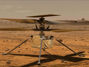 An artist's impression of the Ingenuity Mars helicopter