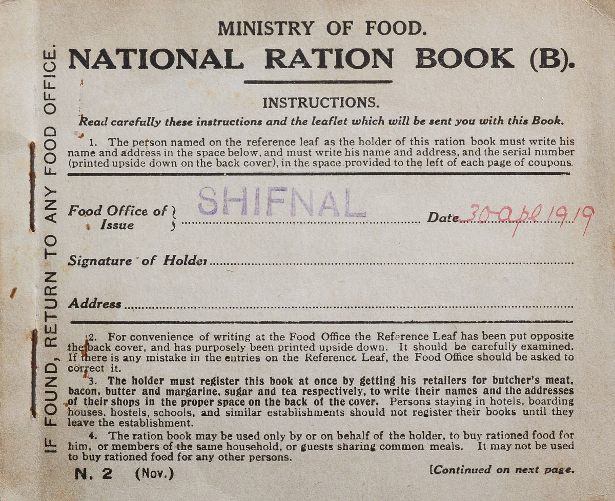 A 1919 ration book issued in Shifnal