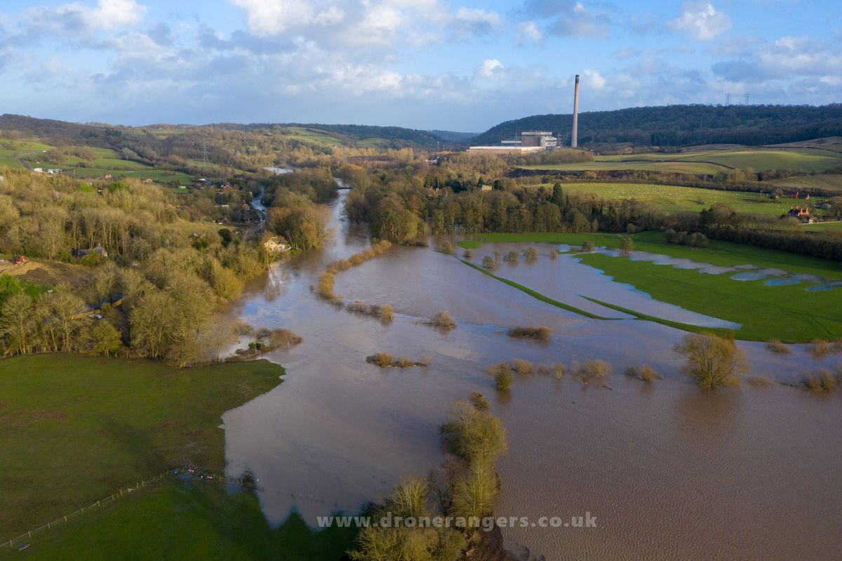 An aerial view looking towards Ironbridge Power Station from Buildwas. Photo: Shropshire Council and the Drone Rangers