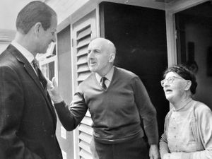 1972: And another thing, your royal highness... Meeting Mr and Mrs Bill Hughes outside their house at Brookside, Telford, in July 1972.