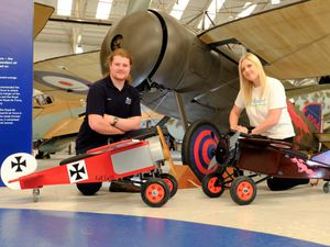 Harry Stant, RAF Cosford apprentice and Hayley Powell, senior community fundraiser at Haven