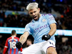 """Manchester City's Sergio Aguero celebrates scoring his side's second goal of the game during the Premier League match at the Etihad Stadium, Manchester. PA Photo. Picture date: Saturday January 18, 2020. See PA story SOCCER Man City. Photo credit should read: Martin Rickett/PA Wire. RESTRICTIONS: EDITORIAL USE ONLY No use with unauthorised audio, video, data, fixture lists, club/league logos or """"live"""" services. Online in-match use limited to 120 images, no video emulation. No use in betting, games or single club/league/player publications.."""