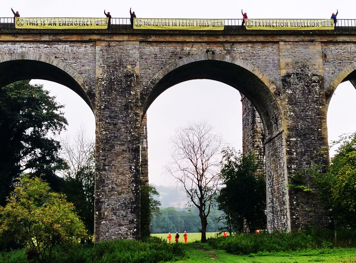 The banners at the Chirk Aqueduct. Photo: XR Shrewsbury