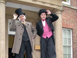 Richard Jones and Mark Russell, aka Phillipe and Riccardo, at Darwin's birthplace on The Mount during the 2004 festival.