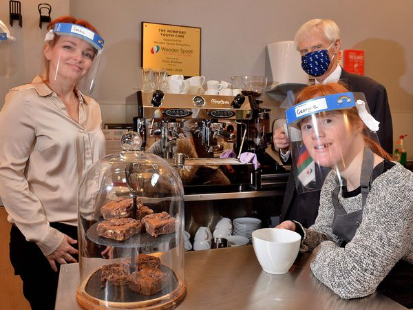 With the new machine are, from left: Hub manager Debbie Bundy, chairman of Wooden Spoon in Shropshire Chris Bristow and barista Georgie Dawson