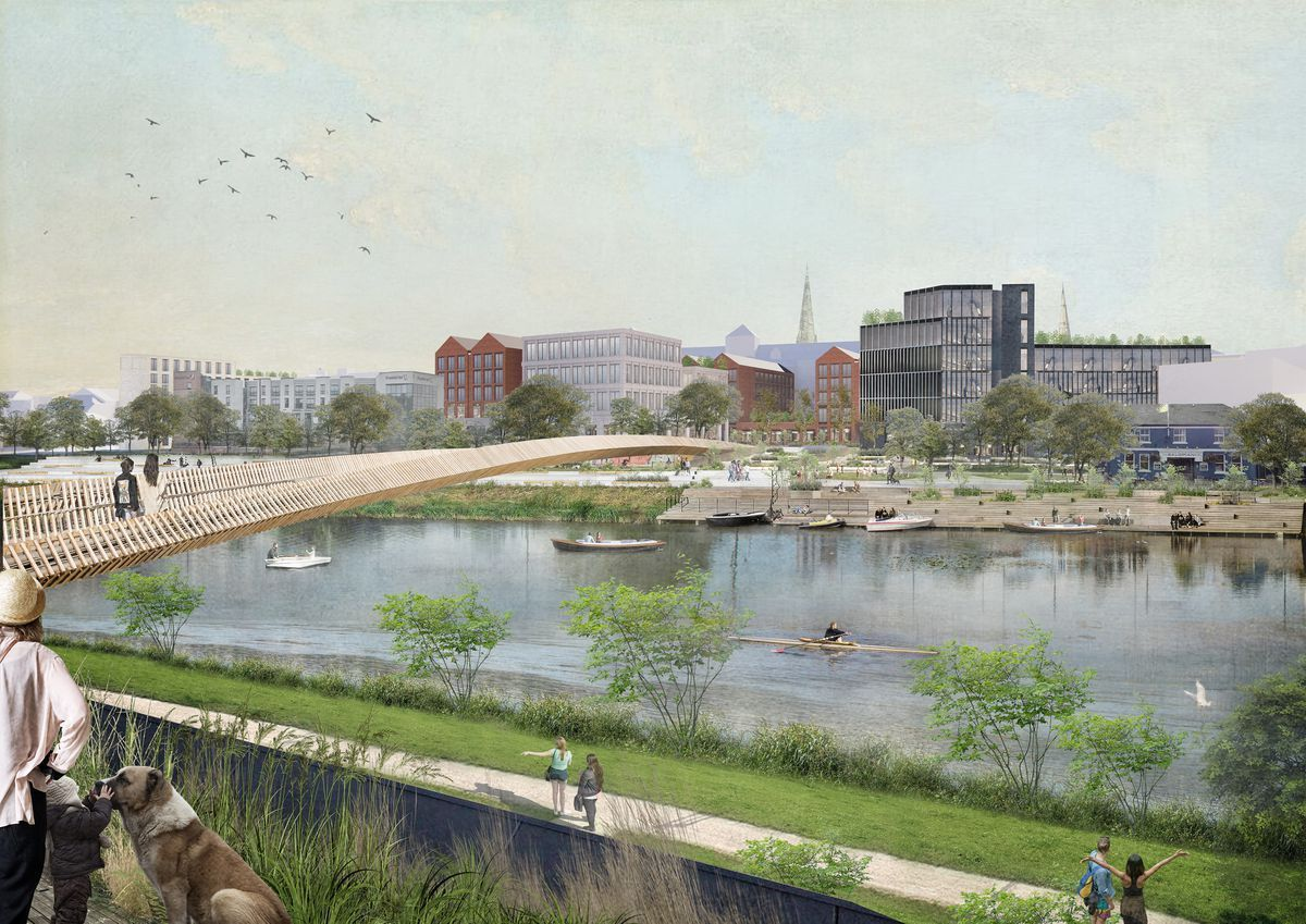 A new bridge is part of the plans for Shrewsbury's  Riverside