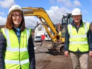 Kerry Bolister, director of development at Housing Plus Group and Tim Charnley, TC Homes director, on site as work begins on the construction of nine new home
