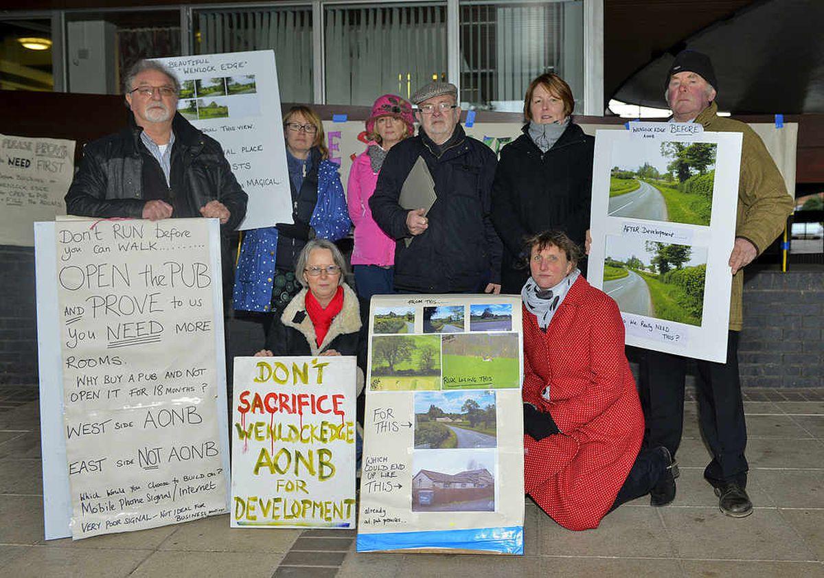 Protestors outside Shirehall, Shrewsbury