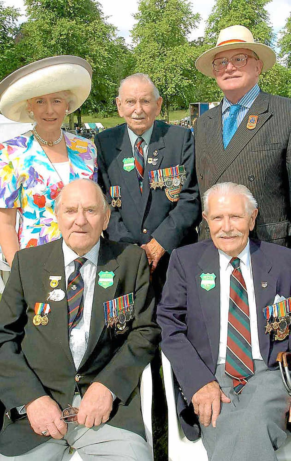 D-Day veterans, including Mr Langford, with Shropshire Horticultural Society president Charles Roger-Coltman and his wife Tessa at the Flower Show