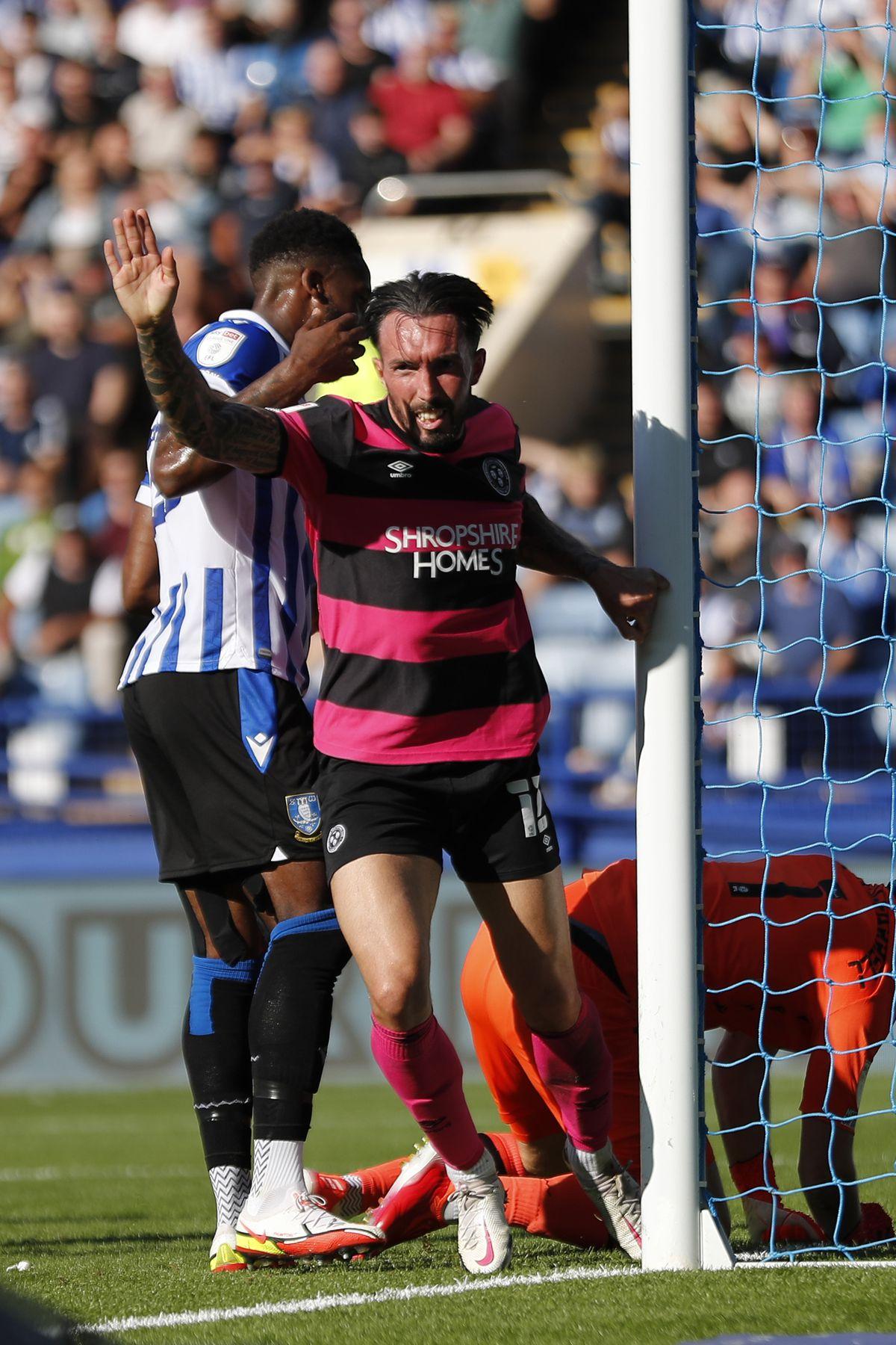 Ryan Bowman of Shrewsbury Town celebrates after scoring a goal to make it 1-1. (AMA)