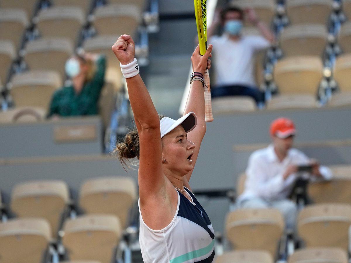 Barbora Krejcikova celebrates a dramatic victory