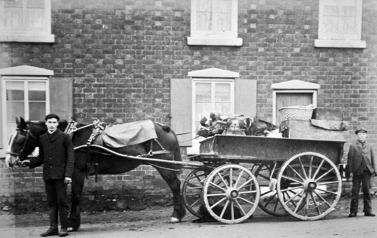 """A horse and cart in Hadley, no later than 1907 – and we know that because this postcard from the collection of Ray Farlow was franked at Wellington on March 4 that year. It was addressed to a Miss Walker, whose address looks like 232 Slaveg Road – which can't be right but we can't make out the writing – in Wolverhampton. The message was: """"Dear Cis, what do you think about this. It as been (sic) taken at Hadley. With love to all, from your loving cousin Jack."""" You might be able to make out that a box on the cart has """"Soap"""" printed on it."""