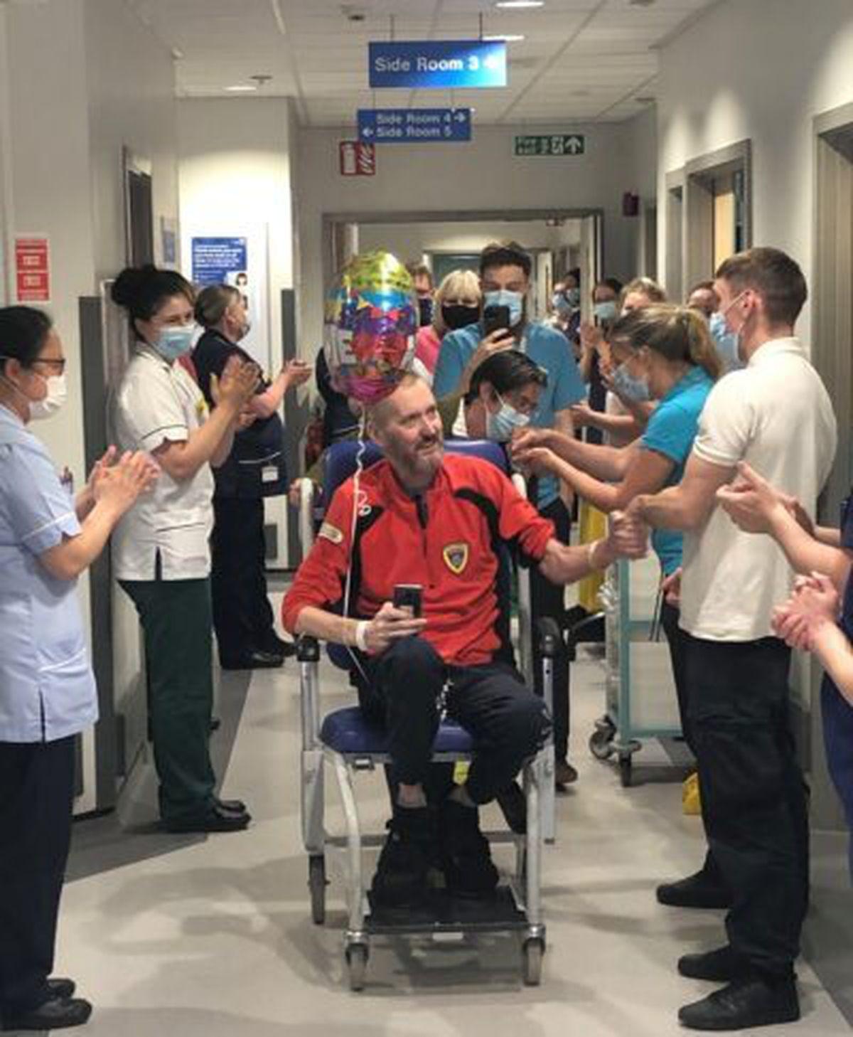 Stuart Tyrer was applauded as he left hospital on Thursday