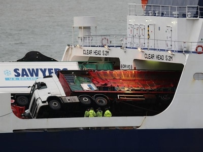 Safety warning issued after toppled lorries crush cars on ferry