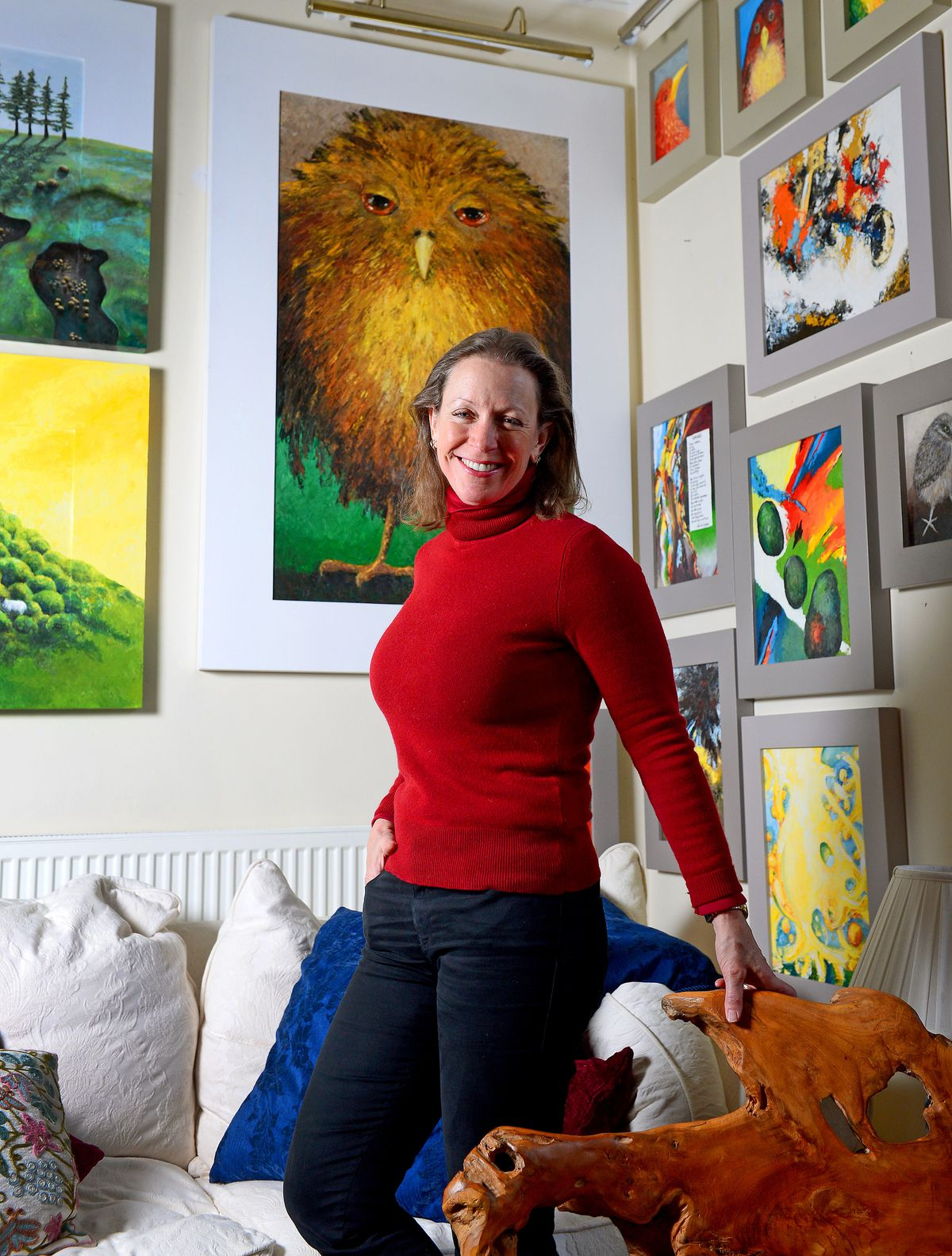 Frieda Hughes at her home in Caerhowel, near Newtown, with some of her art works