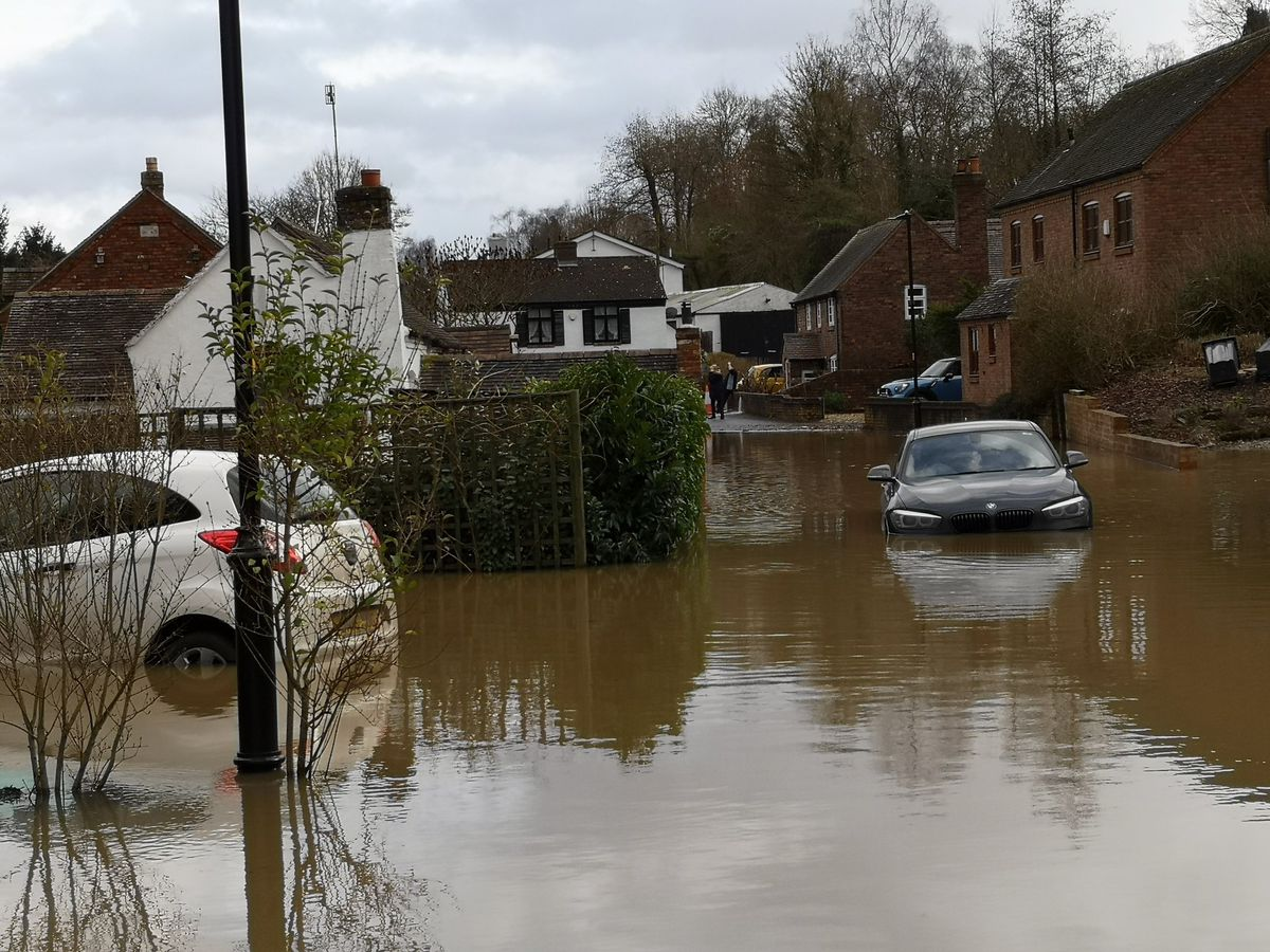 Cars in floodwater in Jackfield. Photo: Liam Ball