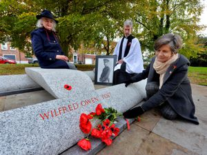 Reverend Dr Tom Atfield, Helen Mcphil and fundraiser Caroline Thewles at the Wilfred Owen memorial