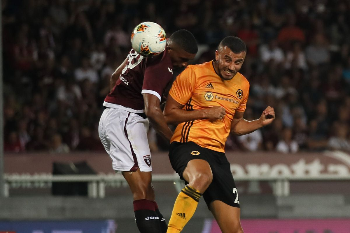 Romain Saiss of Wolverhampton Wanderers scores a goal to make it 0-1 (AMA)