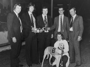 Peter Booth, centre, with his star greyhound Snoozy at Willenhall race track in the 1970s