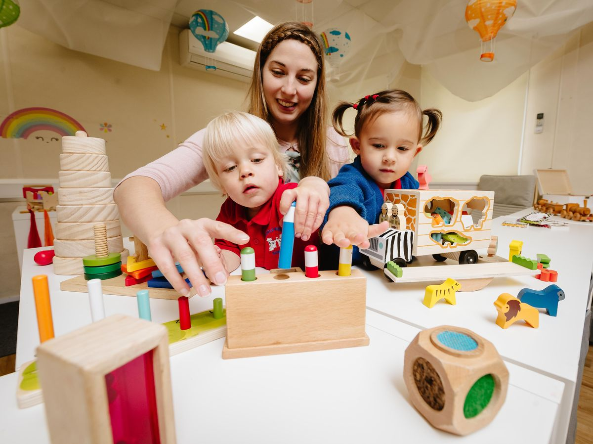 Castle House School in Newport have been given the green light by Ofsted to open their new nursery after refurbishment. In Picture L>R: Hugo Beeston 2, Nursery Manager Helene Burrell and Thea Tsang 3