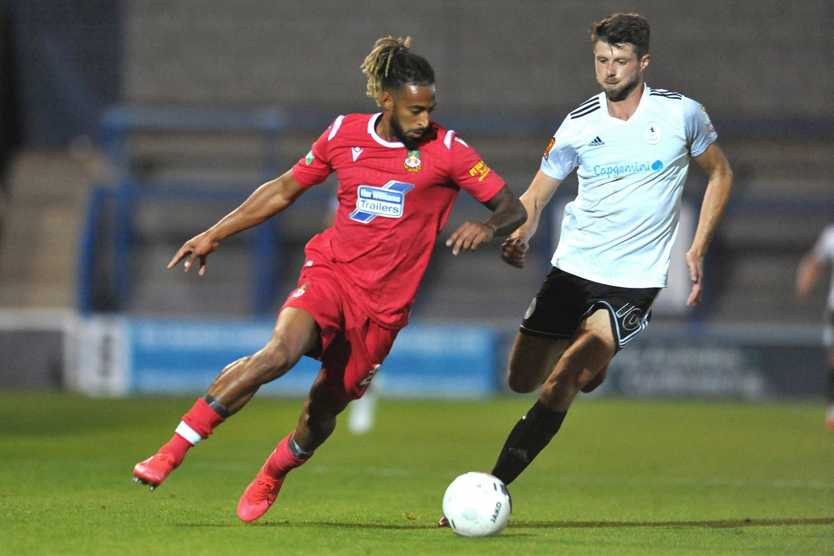 Jason Oswell closes down during the pre-season friendly between AFC Telford United and Wrexham