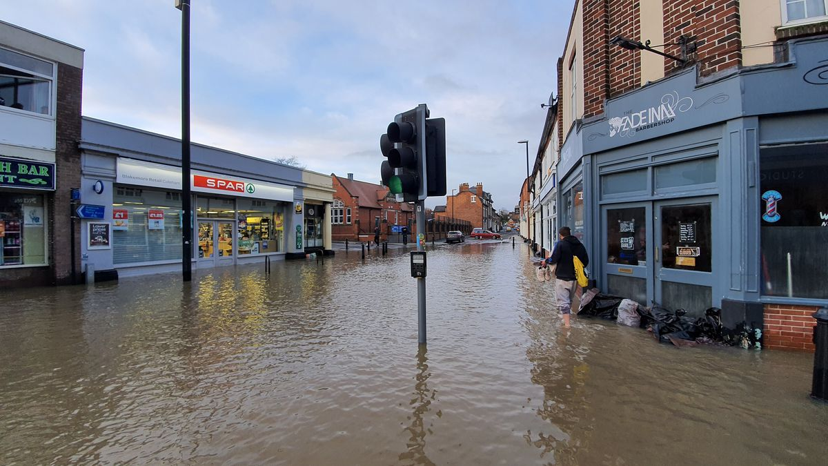 The River Severn broke its banks causing water to flood some areas of Shrewsbury
