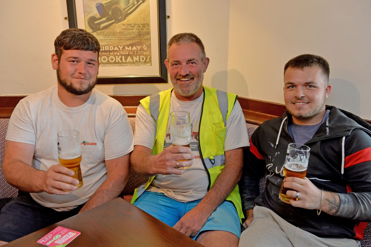 Ben Young, Rob Baker and Josh Chard enjoy their first post-lockdown pints