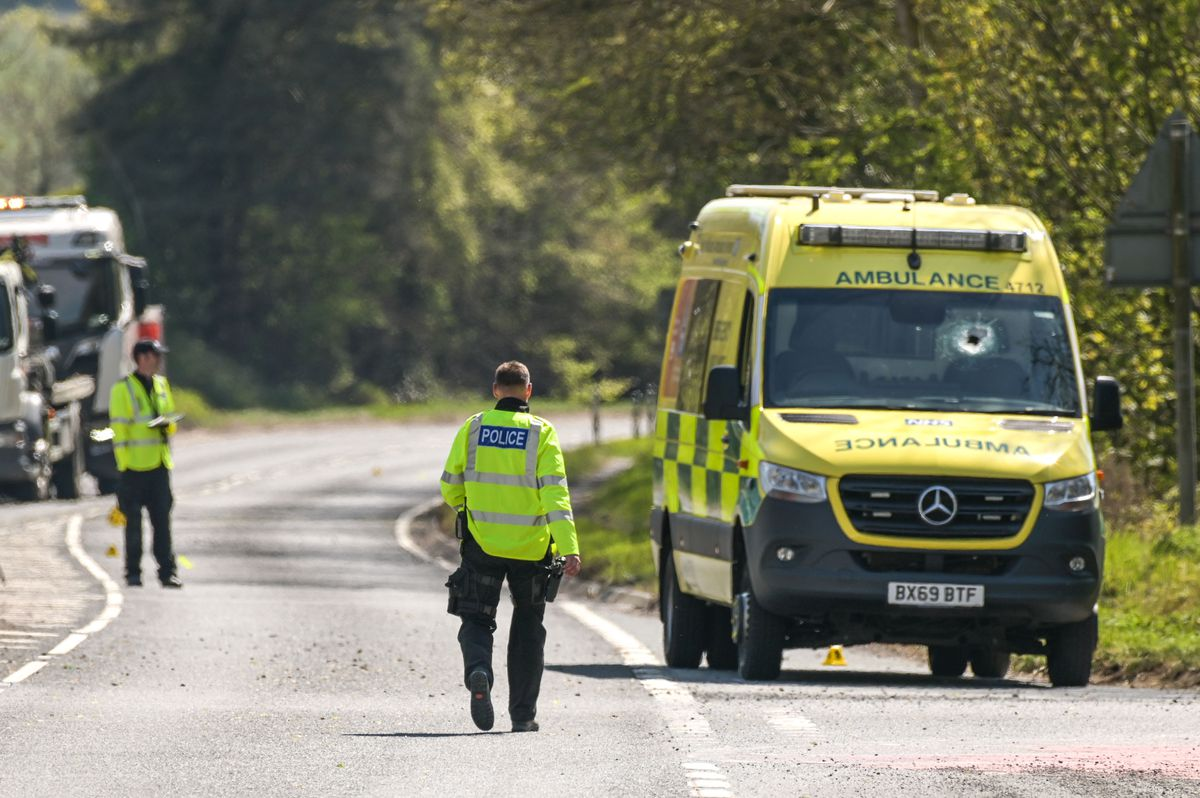 Emergency services at the scene where ambulance worker Jeremy Daw was killed. Pic: SnapperSK