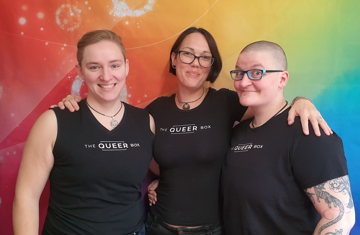 Robin Jakumeit, Ruth Sabini-Roberts and G Sabini-Roberts who launched The Queer Box in October