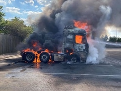 Lorry cab engulfed in flame at Market Drayton dairy