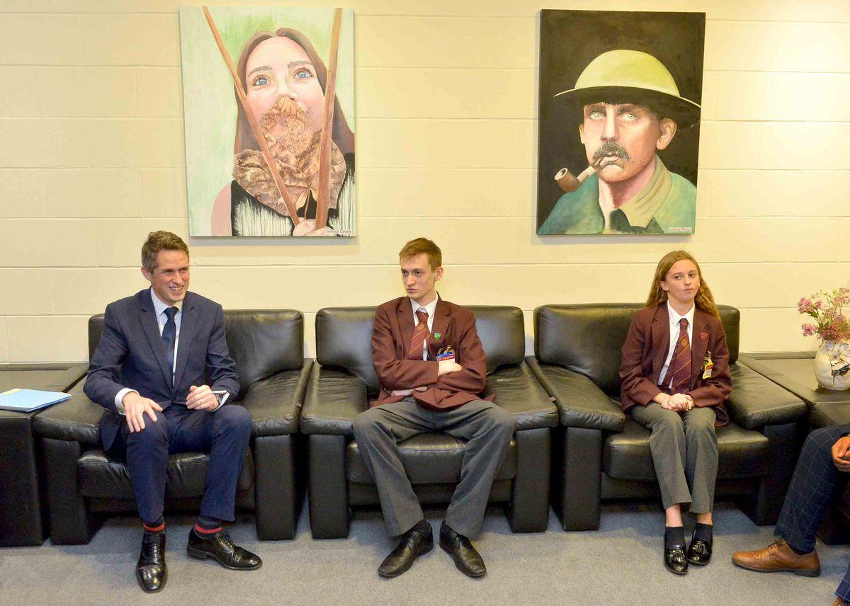 Thomas Telford pupils Jacob France, 14, and Imogen West, 12, with Education Secretary Gavin Williamson