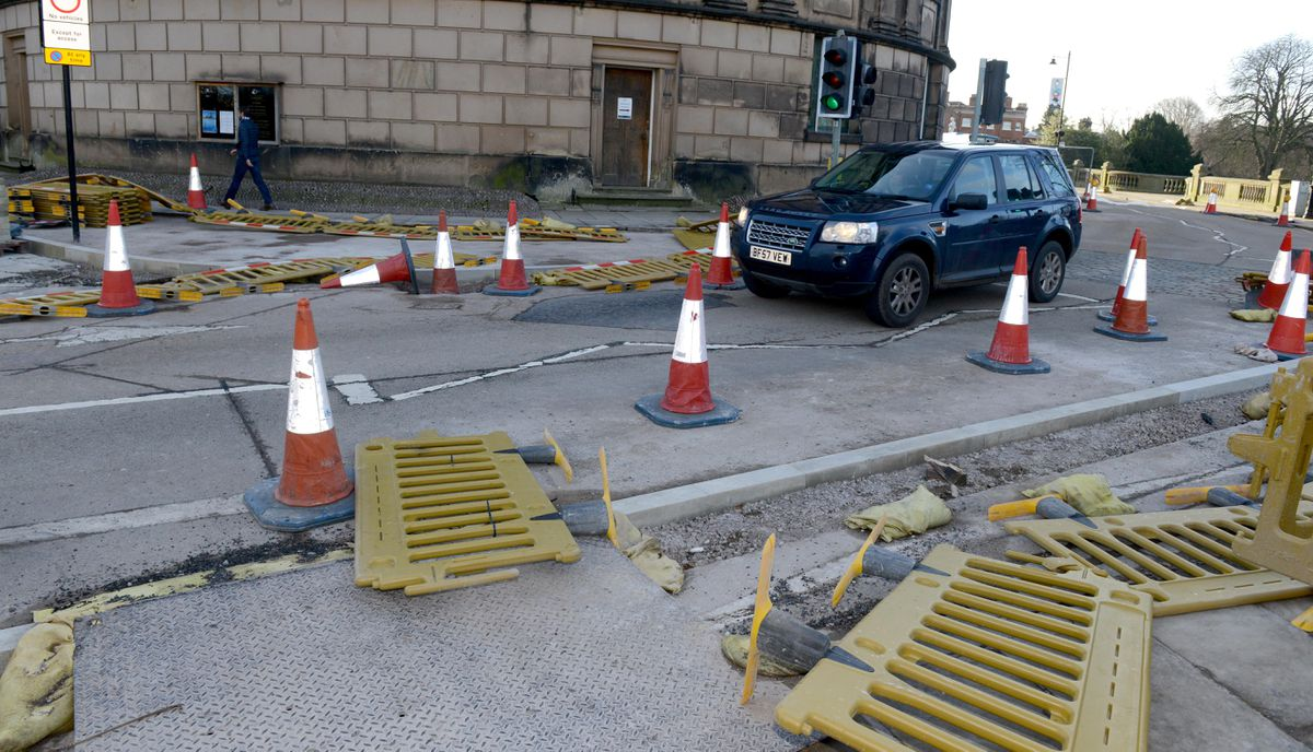 Roadwork barriers on St Chad's Terrace in Shrewsbury were were blown into the carriageway
