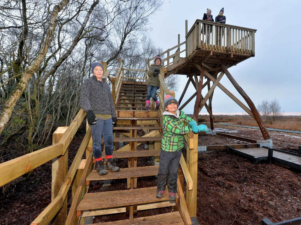 Enjoying the new tower are Whixall residents: Fred Schur, 7, Maya Schur, 10, Billy Schur, 13