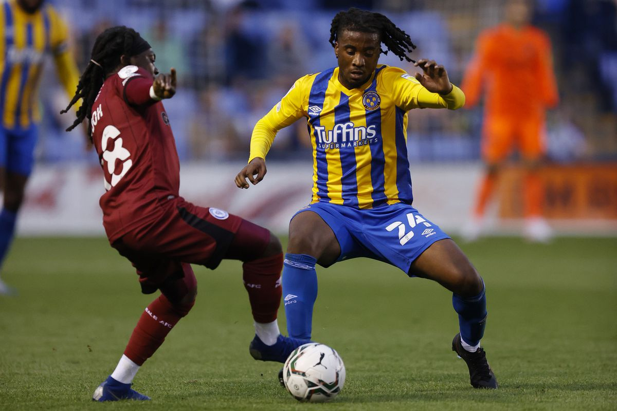 South African midfielder Khanya Leshabela during one of his two cup starts on loan at Shrewsbury Town (AMA)