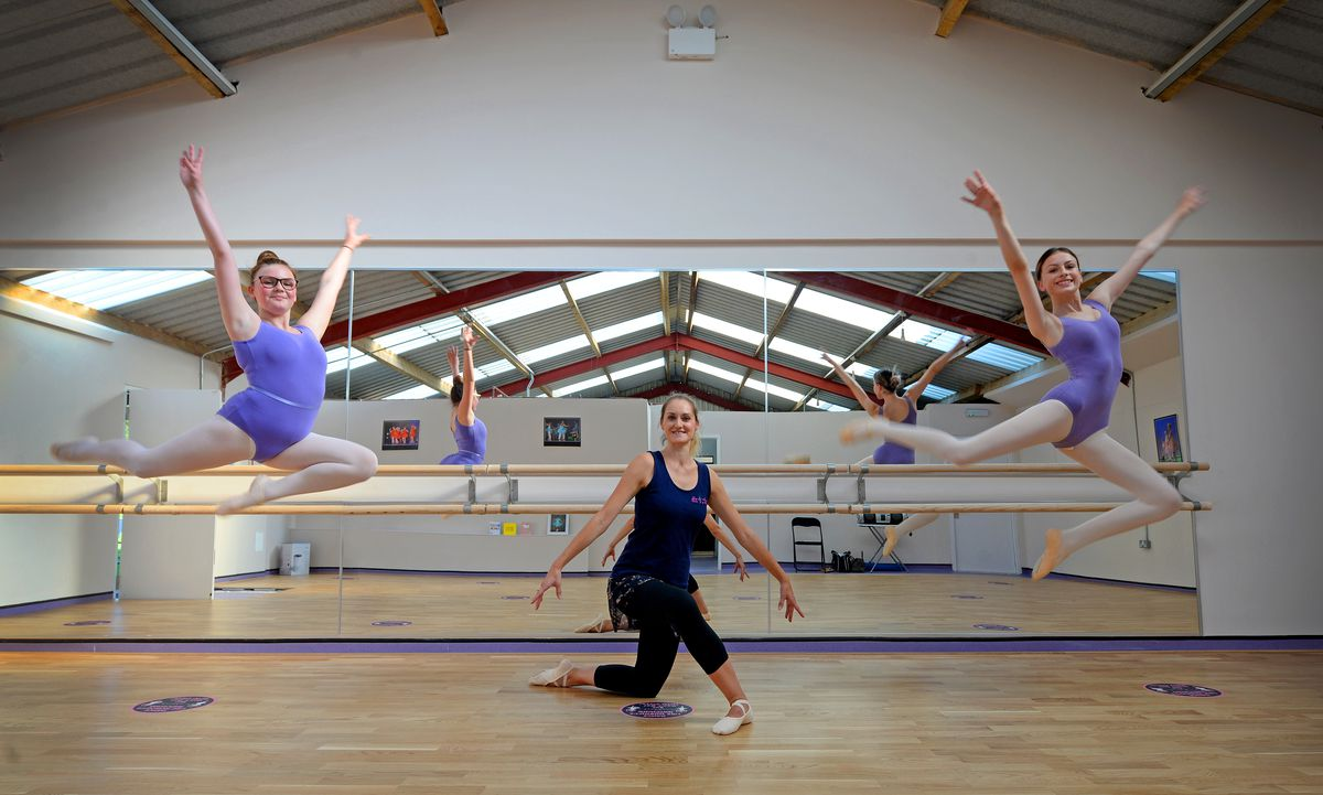 Lucy Harper, centre, with dancers Jessica Matthews, aged 13, and Rosie Kelly, aged 15