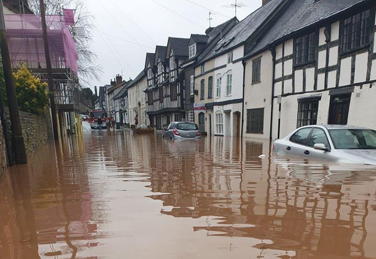 Storm Dennis flooding in Lower Corve Street, Ludlow. Photo: Karokh Mamakura