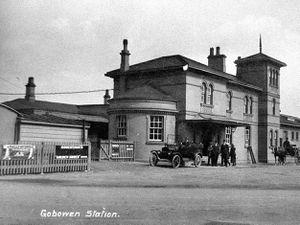 "Gobowen Railway Station as seen in a postcard franked in April 1928.  The station is mentioned in the salvaged volume. the village had no ""principal residents."""