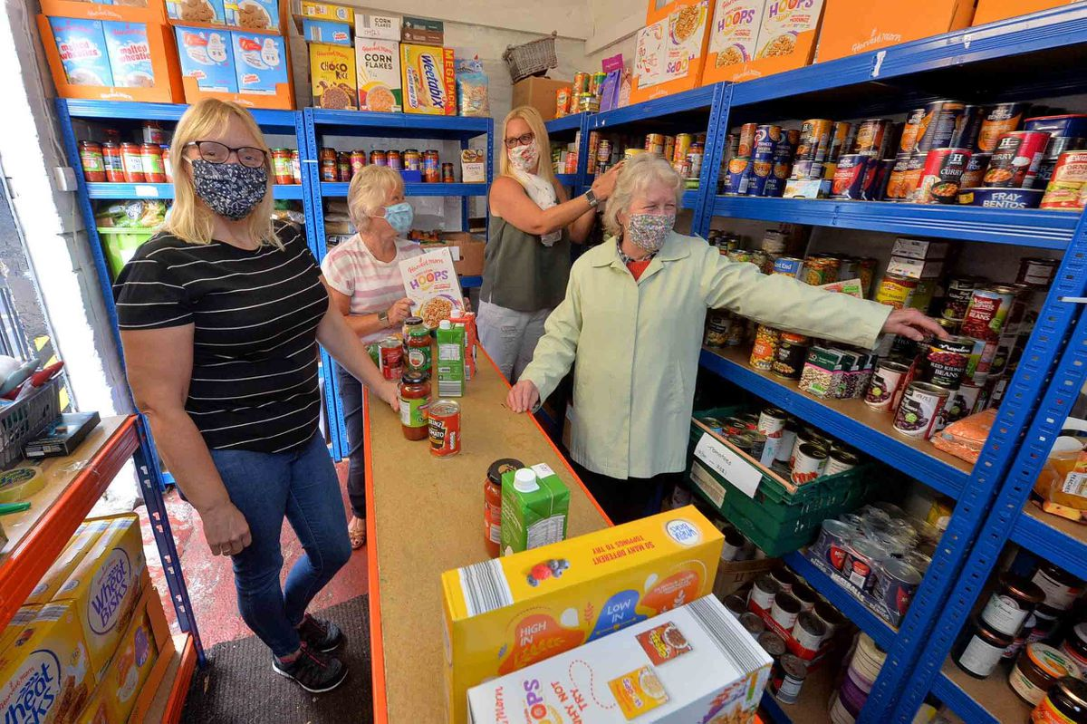 Liz Mountford, Kim Bromley, Sarah Higginson and Irene Evans at Newport Food Bank