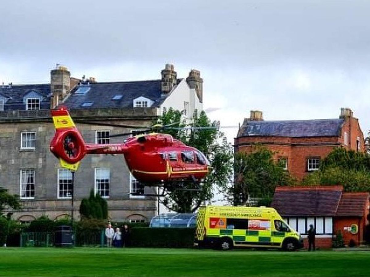 The air ambulance was seen landing in the Quarry