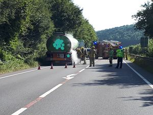 Incident on the A49. Pic: @LudlowCops