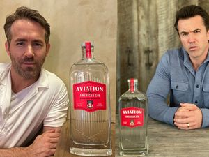 Ryan Reynolds and Robert McElhenney with the Wrexham gin