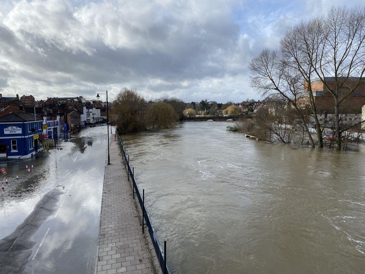Smithfield Road flooded in Shrewsbury town centre. Photo: Tom James Clark