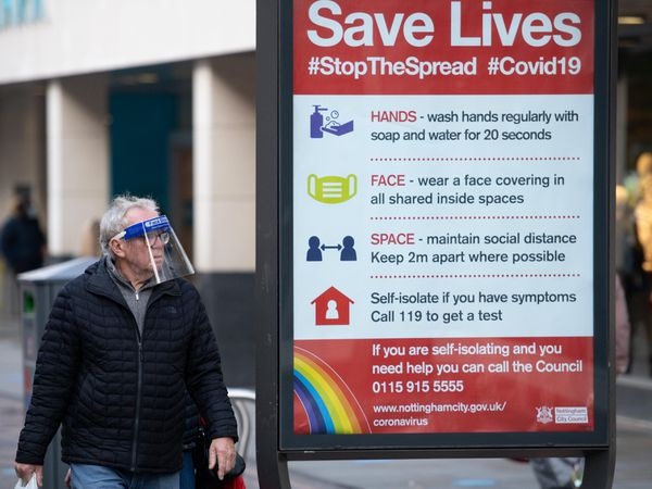 A coronavirus advice sign in Nottingham city centre