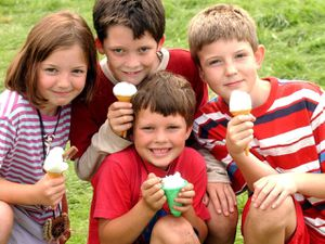 Keeping cool were, from front centre clockwise, Harry Turner, seven, from Faintree, near Bridgnorth, Claudia Evison, seven, from Easthope, near Much Wenlock, Josh Turner, nine from Faintree and Ben Evison, nine.