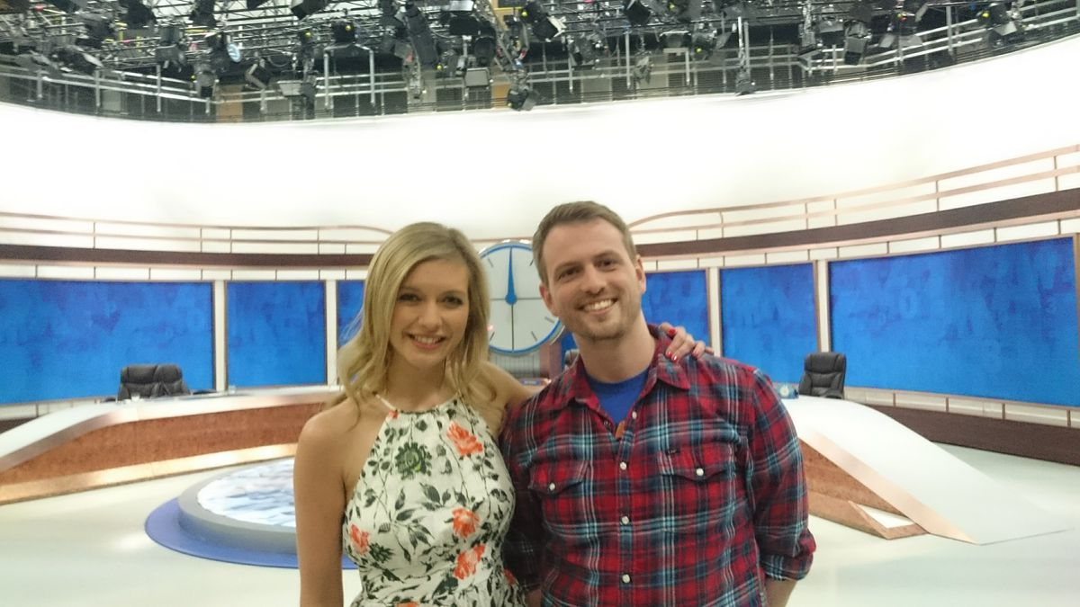 Tom with the show's resident mathematician Rachel Riley