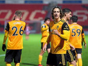 Fabio Silva of Wolverhampton Wanderers celebrates after scoring a goal to make it 1-2