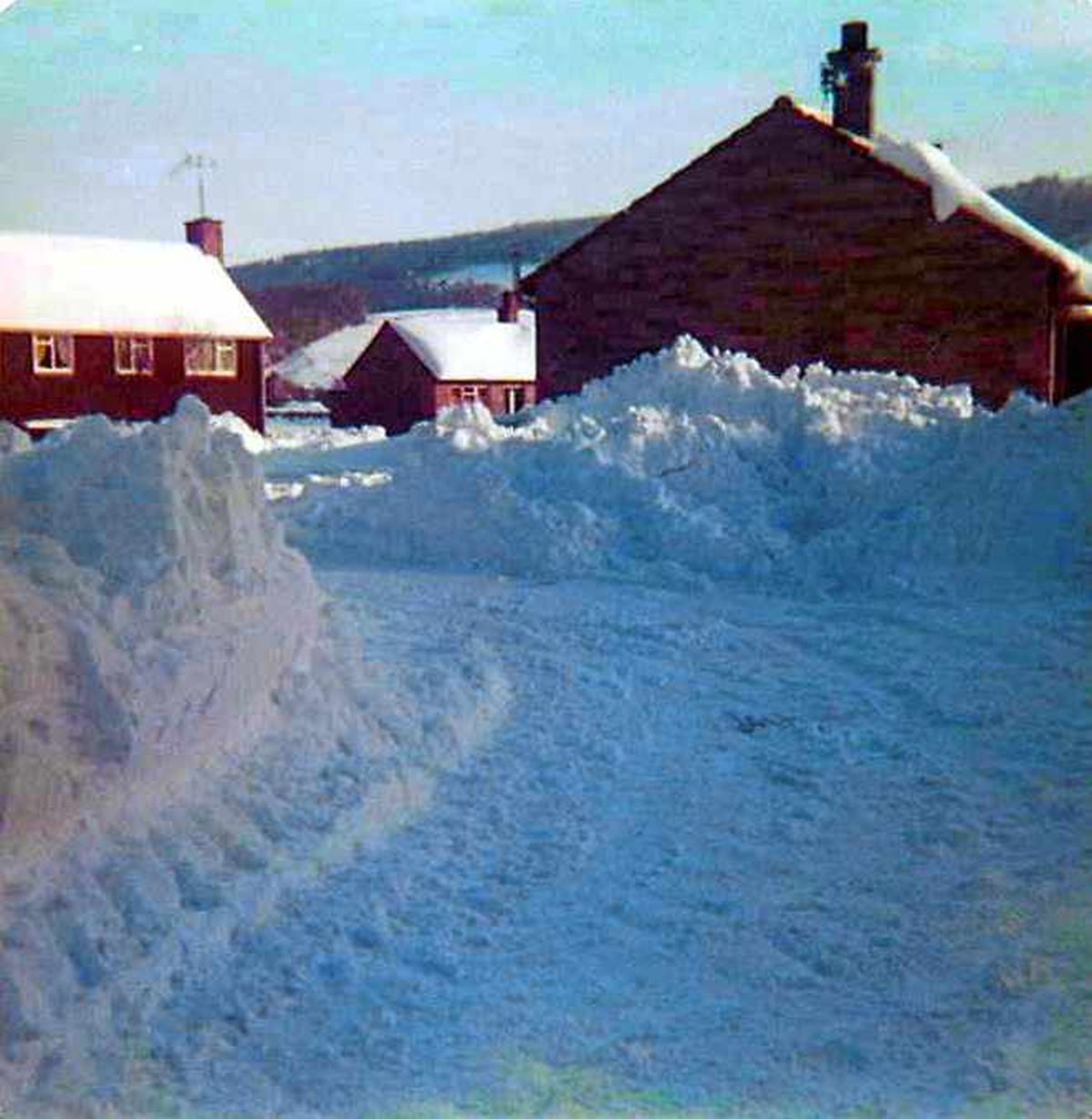 The snow drifts reached well up the side of houses in Clun in January 1982